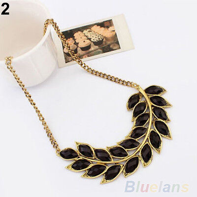 Womens Bib Statement Collar Chain Resin Leaves Pendant Necklace Fashion Jewelry