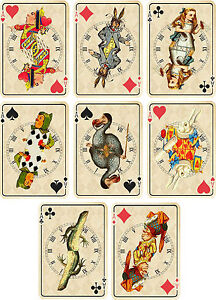 Vintage-inspired-Alice-in-Wonderland-ivory-playing-cards-tags-set-2-ATC-set-of-8