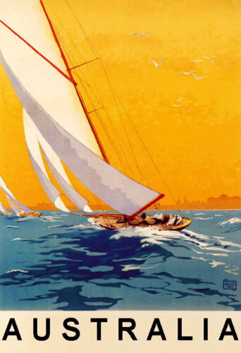 Sailboat Boat Sport Australia Ocean Tourism Travel Vintage Poster Repo FREE S//H