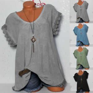 Womens-Lady-Lace-Crochet-Floral-Bell-Sleeve-Loose-Blouse-Tunic-Tops-Shirts-NEW