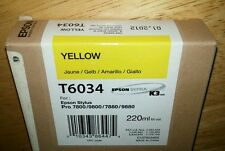 04-2015 NEW GENUINE EPSON T6034 YELLOW 220ml INK STYLUS PRO 7800 9800 7880 9880