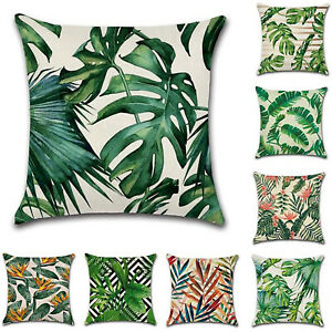UK-Tropical-Plants-Pillow-Case-Cotton-Linen-Jungle-Cushion-Cover-Home-Decoration