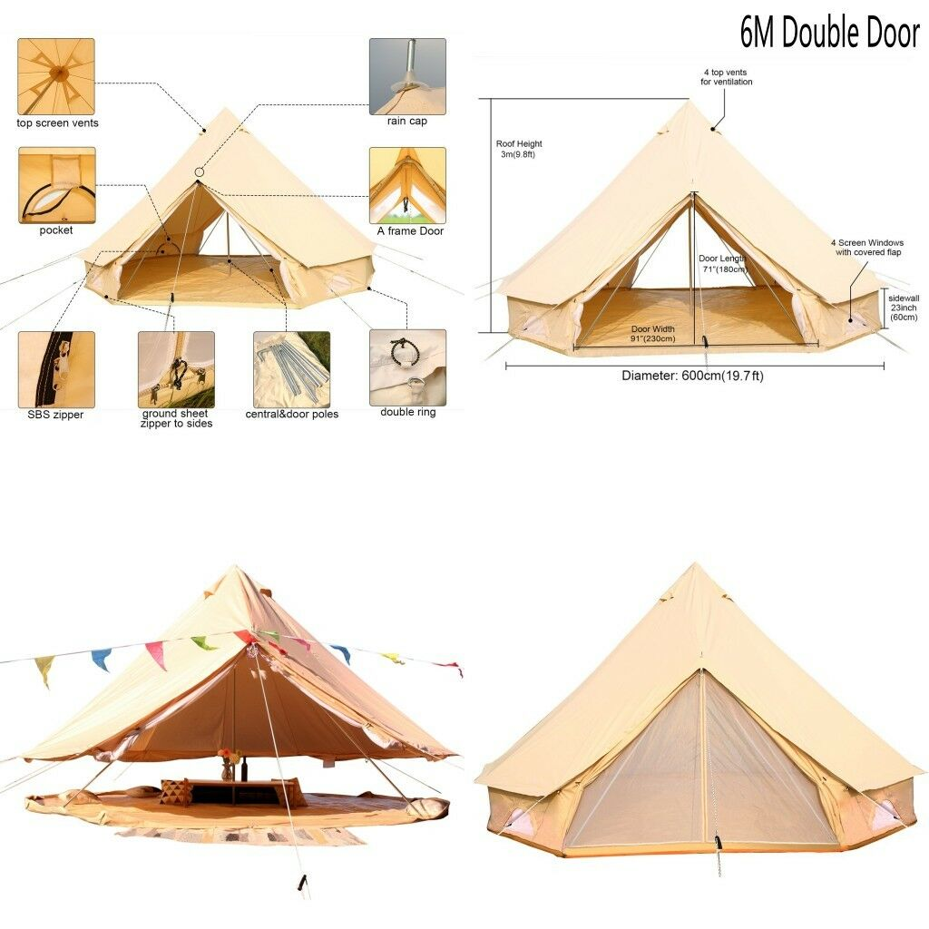 Bell Tent 6M Double Door Cotton Canvas Heavy Duty Glamping Tent Beach Party Tent