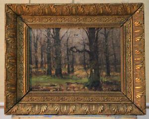 Raphael-Oskar-unverdross-1873-1952-Small-Oil-Painting-Forest