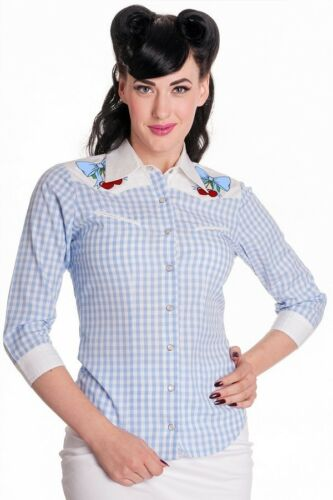 Hell Bunny Brand New Western Check Jessie Top 50s Style  Size 6 Xsl Blue