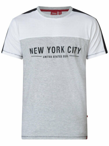 D555 DUKE KINGSIZE BIG MENS BIG NYC PRINT T-SHIRT CUT /& SEW GREY 2XL-6XL KS60153