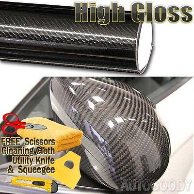 "5D Gloss Black Carbon Fiber Vinyl Wrap Air Bubble Free 60/"" x 108/"" In 5FT x 9FT"