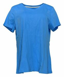 Isaac-Mizrahi-Live-Women-039-s-Top-Sz-L-Pima-Cotton-V-Neck-T-Shirt-Blue-A380859
