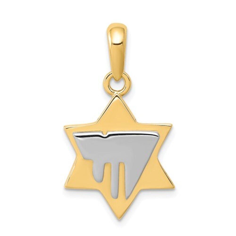 14K Two-Tone gold Religious Chai Jewish Star Of David Charm Pendant - 26mm