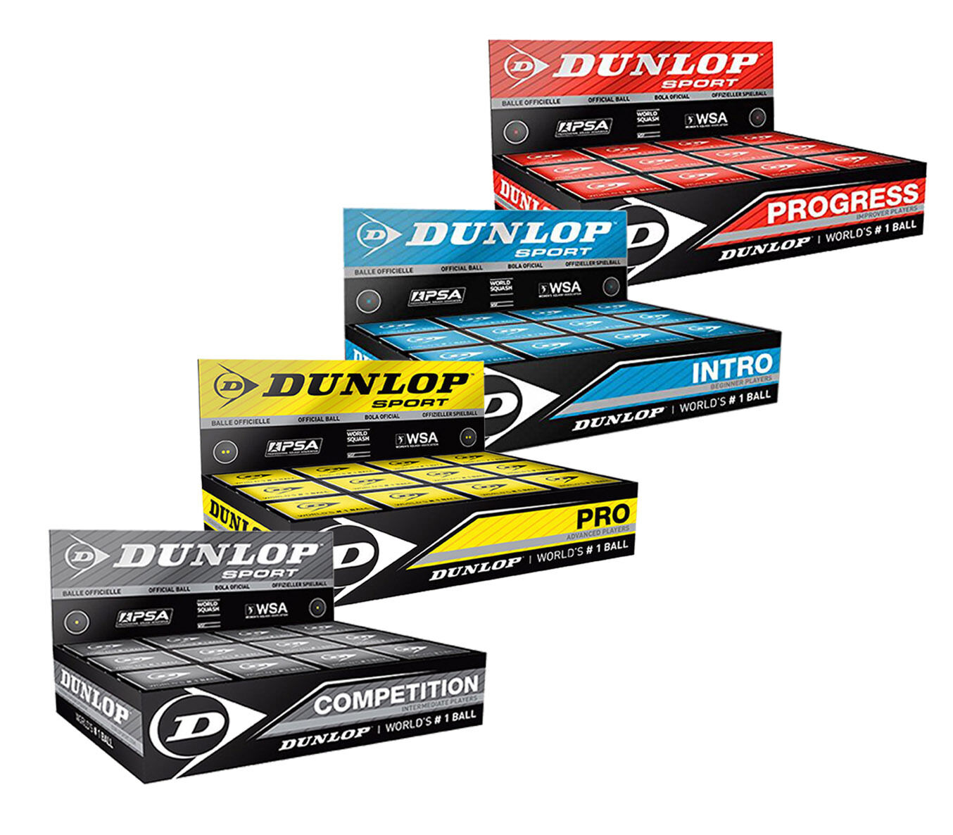 Dunlop Squash Balls Pro Double Dot Yellow - Competition Red Progress Intro bluee