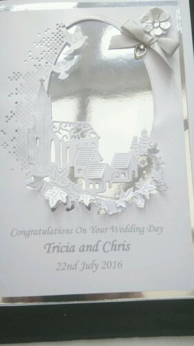 HANDMADE and PERSONALISED LARGE  Wedding//Anniversary//Christening Card