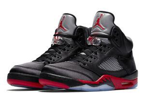 no sale tax new styles popular brand Details about 2018 Nike Air Jordan Retro 5 V Satin Black University Red  136027-006 BRED