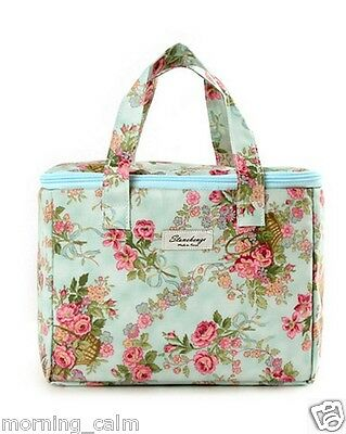 Pastel Rose Floral Lunch Box Insulated Cooler Tote Bag, Travel Beach Picnic Gift