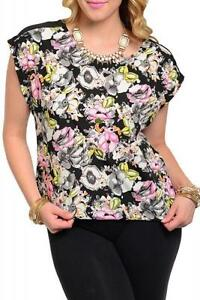 NEW-Kitsch-Black-Pink-Floral-Graphic-Print-Womens-Top-PLUS-1XL-2XL-Lightweight