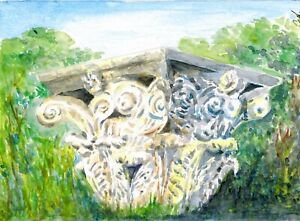 034-Greek-beauty-034-ORIGINAL-signed-watercolor-painting-Europe-travel-architecture