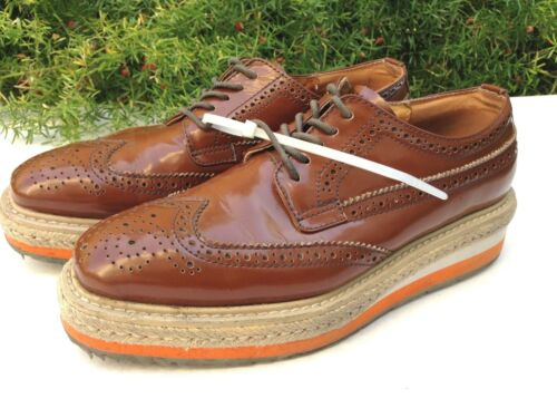 PRADA BROGUES Brown Tan Orange Patent Leather Plat