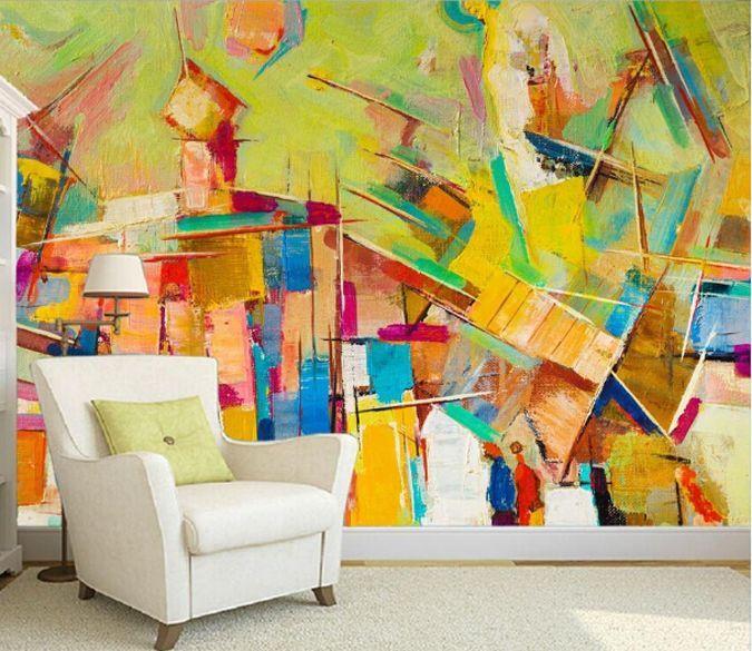 3D Peint Couleur 2 Photo Papier Peint en Autocollant Murale Plafond Chambre Art