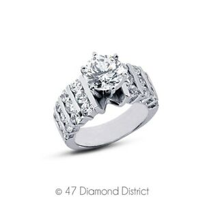 2-78ct-tw-G-SI2-Round-Cut-Natural-Certified-Diamonds-14K-Gold-Sidestone-Ring