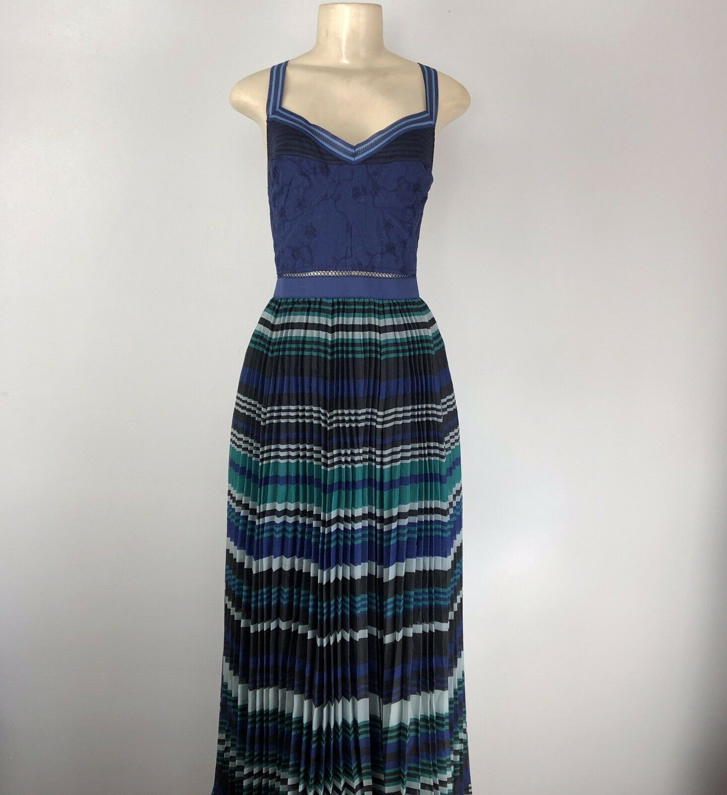 Free People Navy Combo Maxi Pleated Dress Größe 12 F868Y579 MSRP  NWT