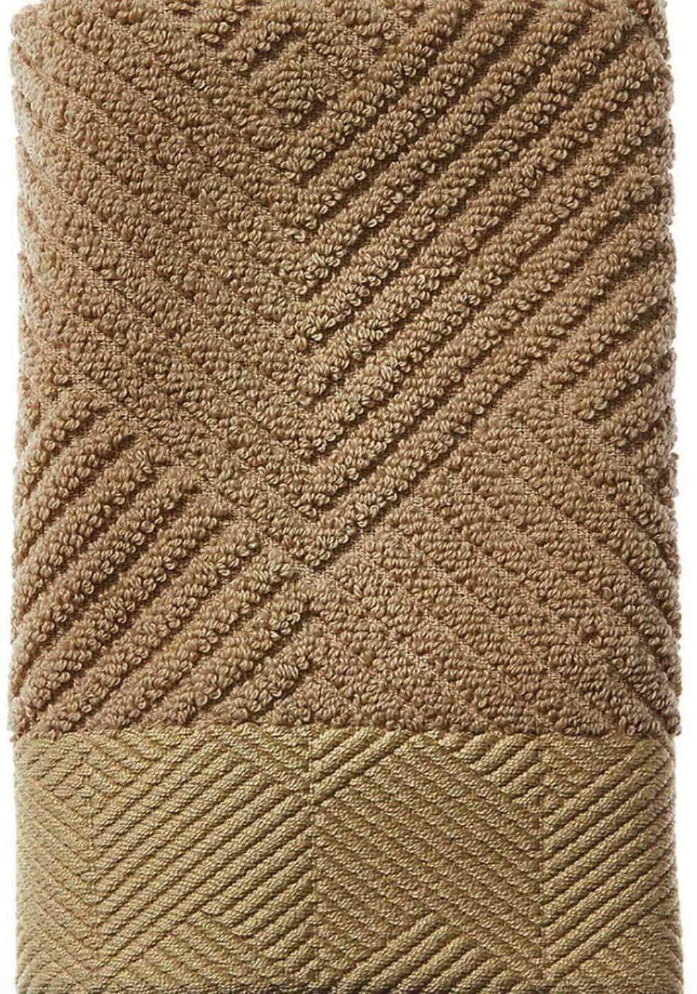 NWT FRETTE 100% Egyptian Cotton Diamond Jacquard Hand Towel in Kaki Portugal