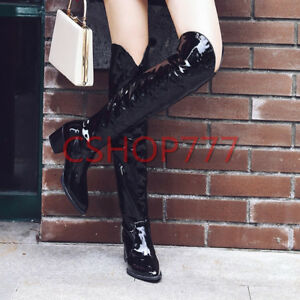 Womens-pointy-Toe-patent-Leather-over-the-knee-High-Boots-cuban-heels-shoes-sz