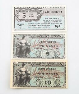1946-amp-1951-US-Military-Payment-Certificates-VF-UNC-Series-461-amp-481-5c-10c-MPC
