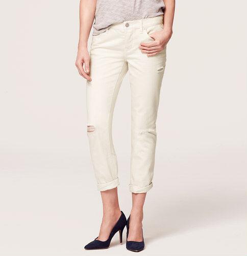 Ann Taylor LOFT Boyfriend Jeans Pants in Destructed Buttercream Size 32 Petite