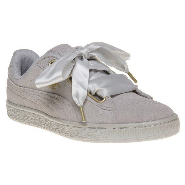 New femmes Puma gris Suede Heart Satin Trainers Court Lace Up