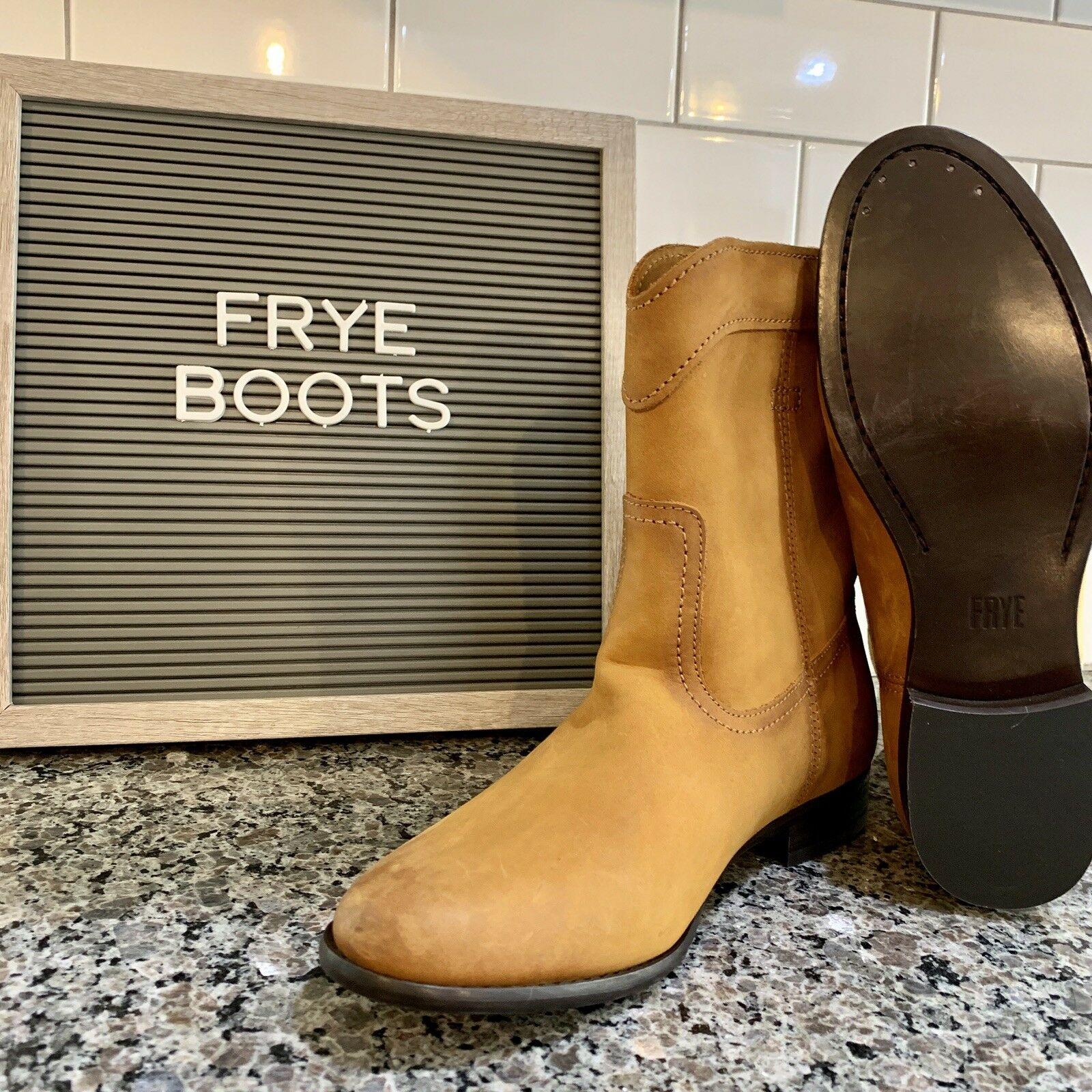 Frye Leather Women Short Riding Boot Boot Boot 3471443 Cognac Size 8 002c06