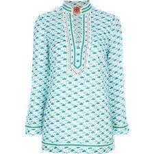 Tory Burch Tunic Green White Flamingo Print Tunic 8 Blue Swim Cruise L