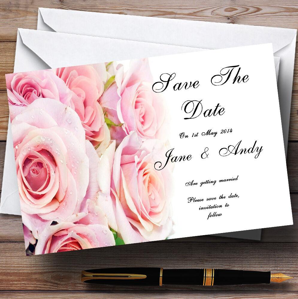 Magnifique rose pastel Cartes wet Roses Mariage Personnalisé Cartes pastel save the date 81ad75