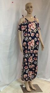 Rags-amp-Couture-Woman-039-s-Navy-With-Flowers-Maxi-Dress-Size-M