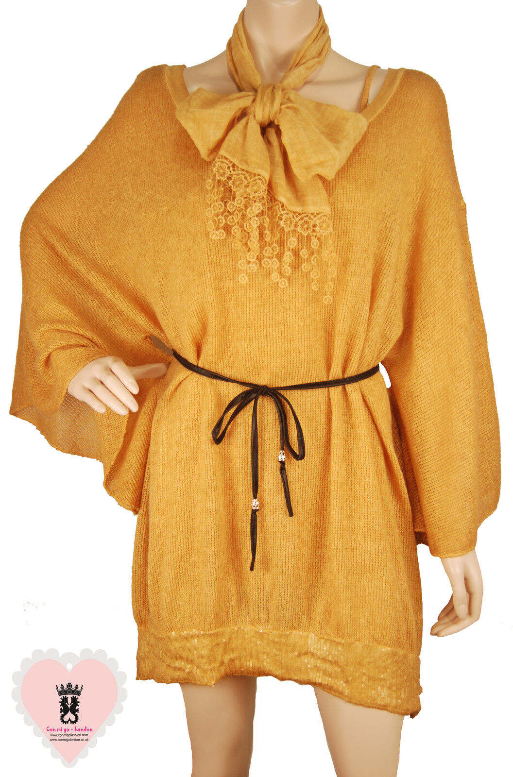 Made in  - go124 - Gold Tierot Wool Tunic & Insdie Tee & Scarf - 3 items