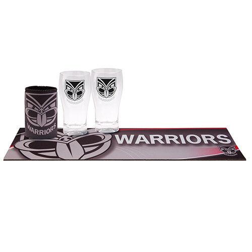 NRL Bar Set - New Zealand Warriors - Schooner Bar Runner Mat Stubby Can Cooler