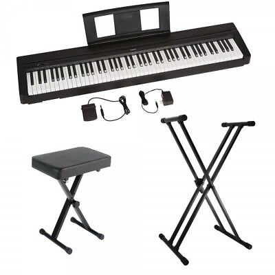 yamaha p45 88 key weighted action digital piano with accessory bundle ebay. Black Bedroom Furniture Sets. Home Design Ideas