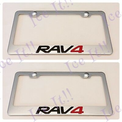 Chrome RAV4 Stainless Steel License Plate Frame CoverRust Free W//Caps For Toyota
