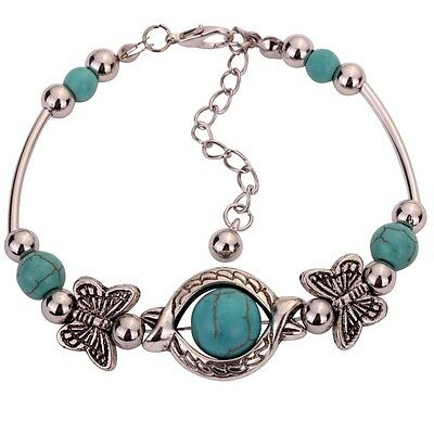 Jewelry Tibetan Silver Bracelet Turquoise Inlay Butterfly Bead Adjust Bangle Hot