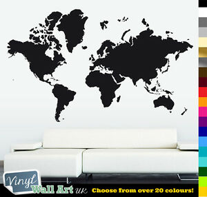 Huge World Map Vinyl Wall Art Sticker Decal Various Colours Free