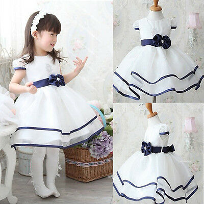 Baby Girls Kids Princess Christmas Party Bowknot White Formal Gown Tutu Dress WS