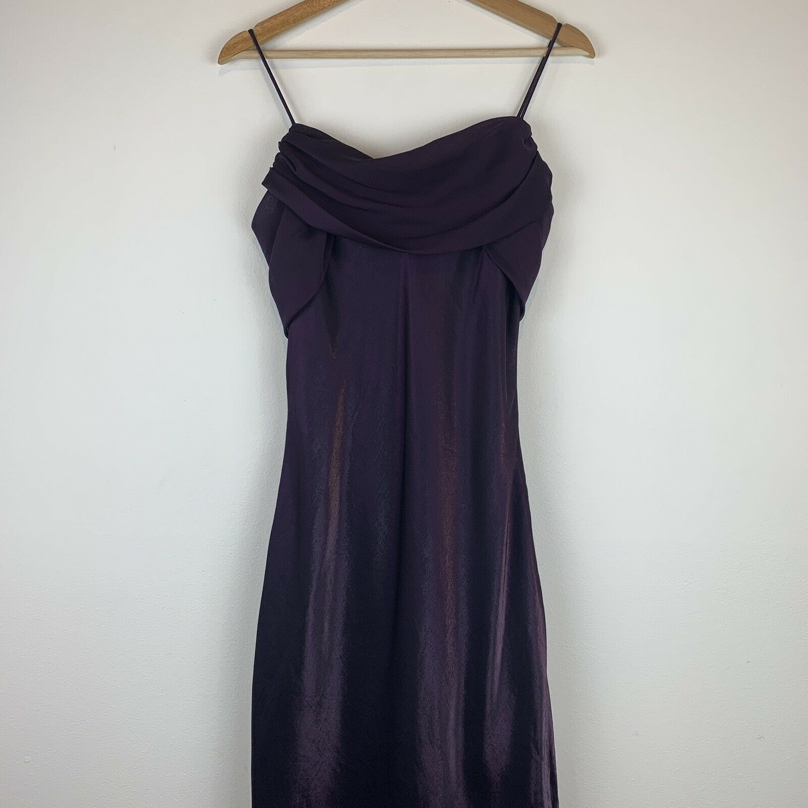 Betsy & Adam Women's Prom Formal Maxi Dress Spaghetti Straps Shiny Purple Sz M