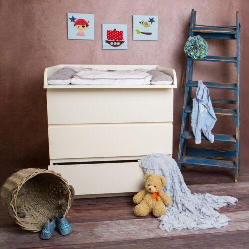 Puckdaddy Baby Wickelaufsatz Rund in weiß für IKEA Malm Kommode