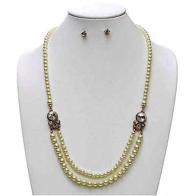 "27"" Gp Vintage Look Crystal 2 Strand White Pearl Bib Necklace Set Bridal Accessories Bridal Jewelry"