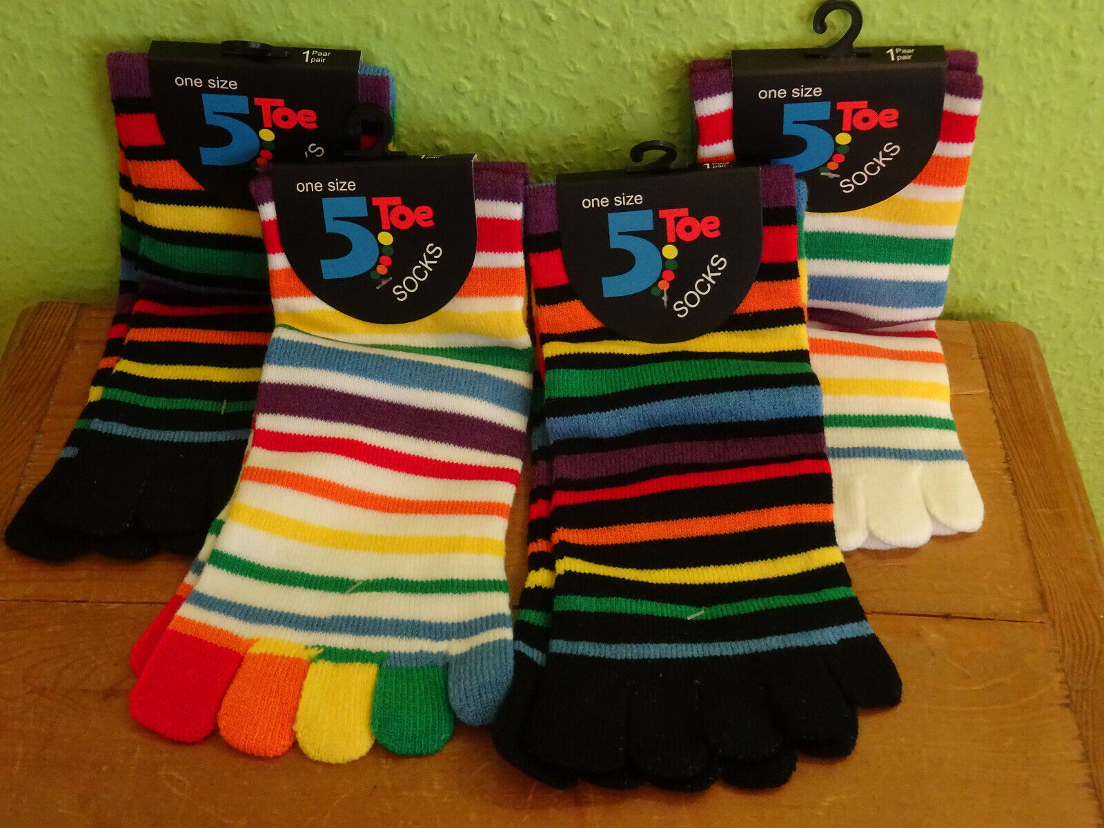2 Paar Damen bunte Ringel Zehensocken Streifen Socken 5 Einzelzehen Kurz neu