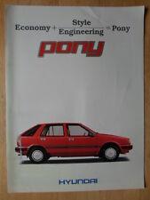 HYUNDAI PONY 1986 UK inchiostri SALES BROCHURE