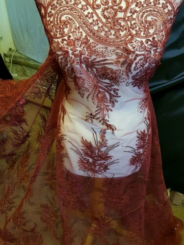 1m wine red Embroidery sequin  Fabric scalloped  Floral  lace Wedding 52 /""