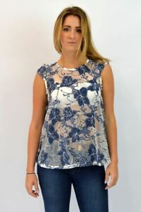 DOROTHY-PERKINS-Blue-White-Lace-Waterfall-Sleeveless-Party-Top-Round-Neck