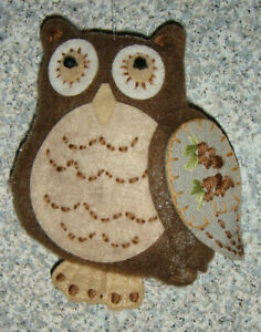 OWLS! NEW horned owl Christmas ornament, mixd materials, brown, soft squeezable