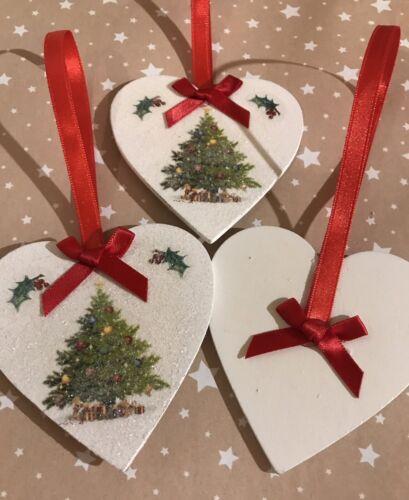 3 x Magnifique Arbre Décorations de Noël en bois véritable Cœur Autocollants Rouge Bows