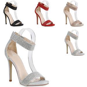 Damen High Heels mit weißen Glitzer Riemchen und
