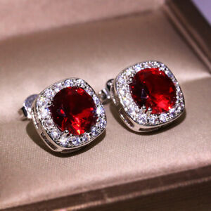 925-Silver-Round-Red-Ruby-Stud-Earrings-Crystal-Zircon-CZ-Earring-Garnet-Jewelry